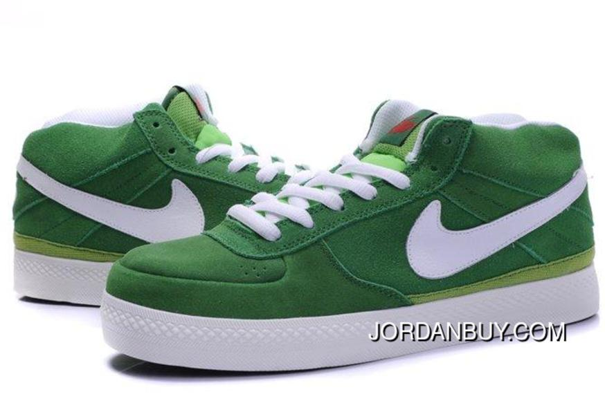 Discount Nike Dunk SB 2012 New Mid Cut Mens Shoes Forest Green White Shoes