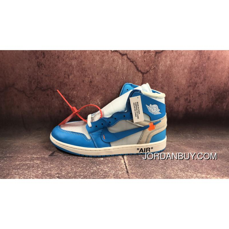 4479255bcd2f7d Authentic North Carolina Blue OFF-WHITE Air Jordan 1 X Men Shoes AQ0818-148  ...