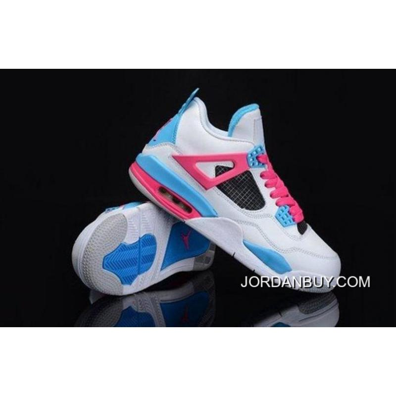0b9d51d53bc0 jordan shoes 4 iv retro women blue pink and white