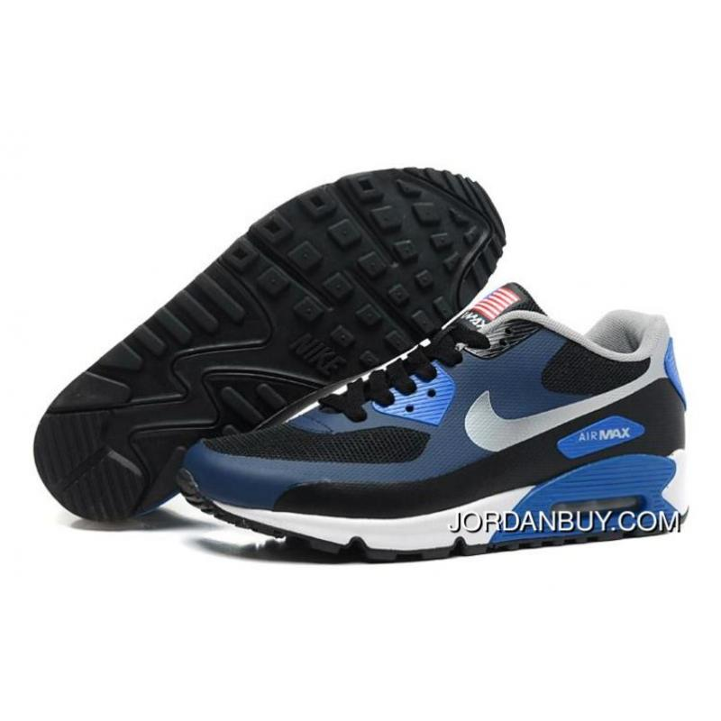 Special Offer Nike Air Max 90 Womens Flag Usa Blue Black Silver Lovers  Shoes Shoes ...