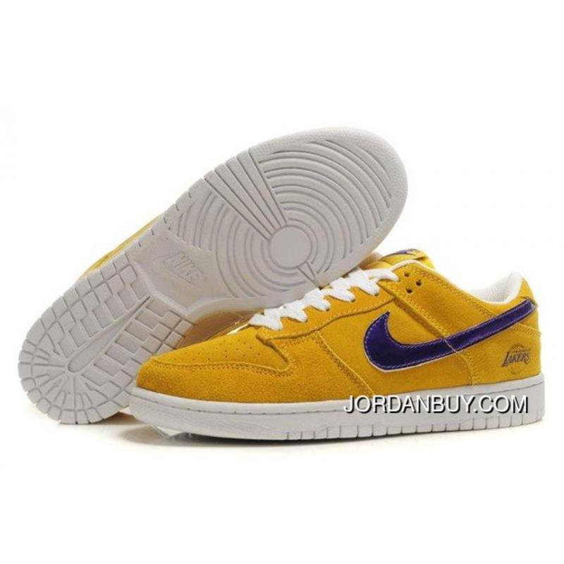 Discount Sale Nike Dunk SB 2012 New Low Cut Mens Shoes Lakers yellow purple white In the UK online