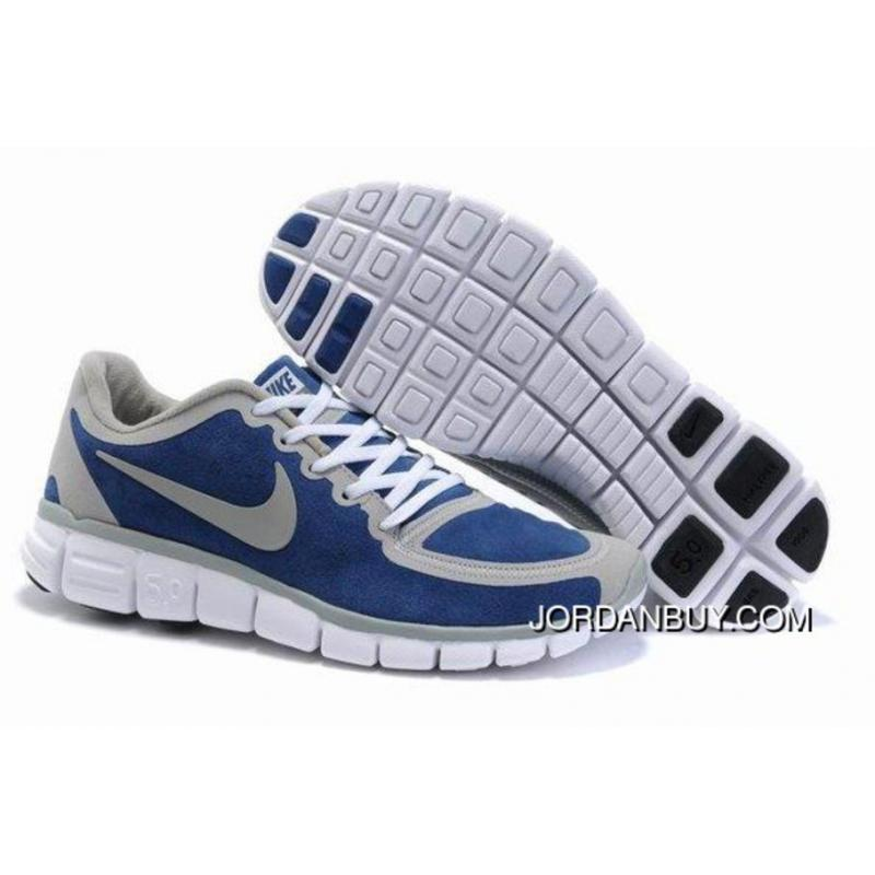 Real 2012 Nike Free Run 5.0 V5 Men Shoes Blue Grey Online ...