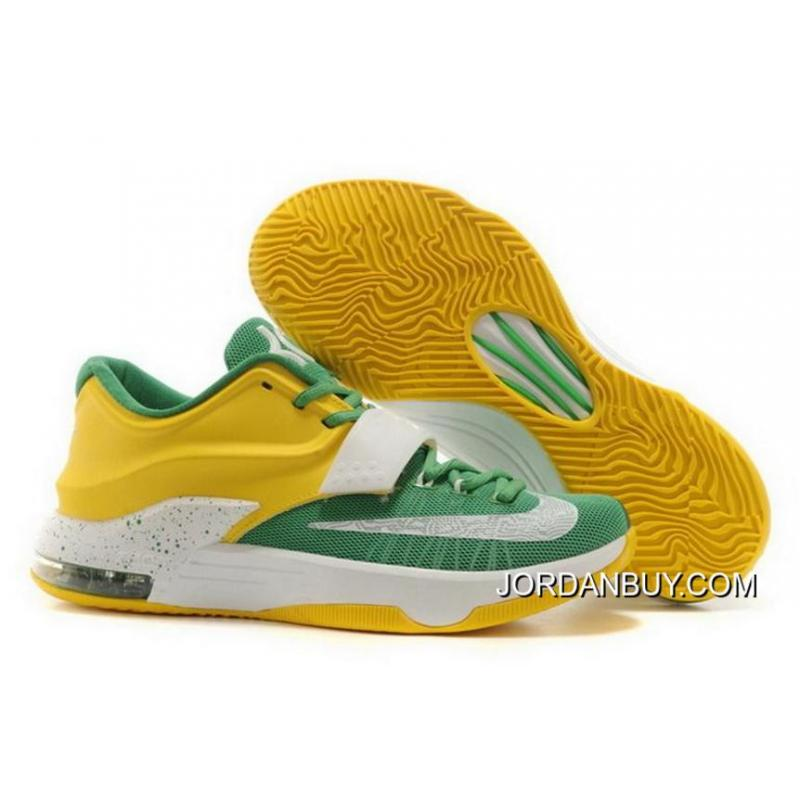 eb320b191d40 New 2016 Nike KD 7 2014 Green Yellow White Mens Shoes For Sale ...