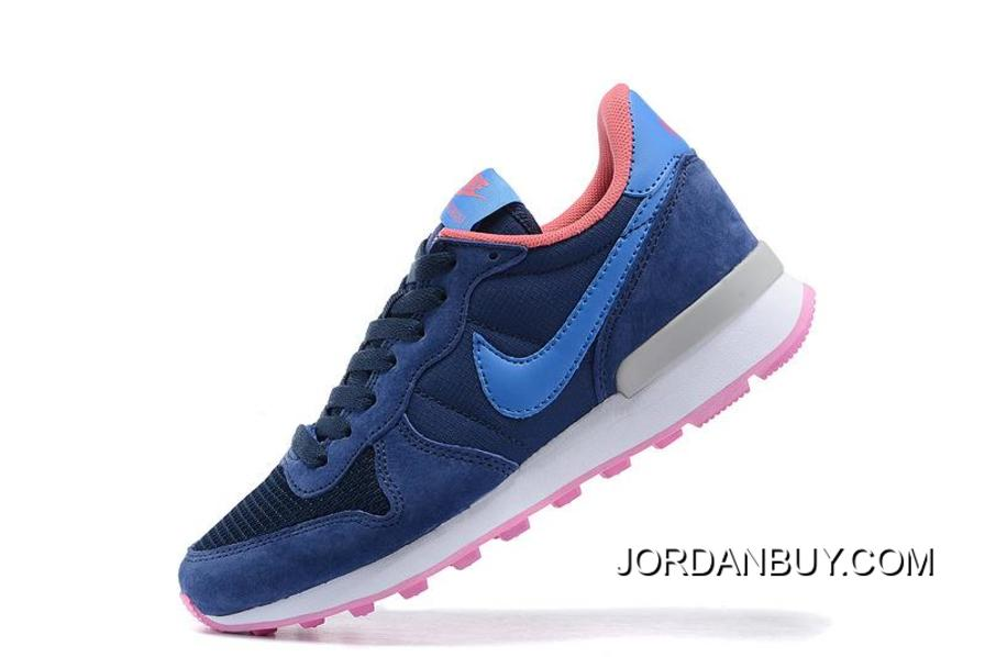 Clearance 2015 Nike Internationalist Leather Womens Run Shoes Navy Blue  Pink Shoes Now