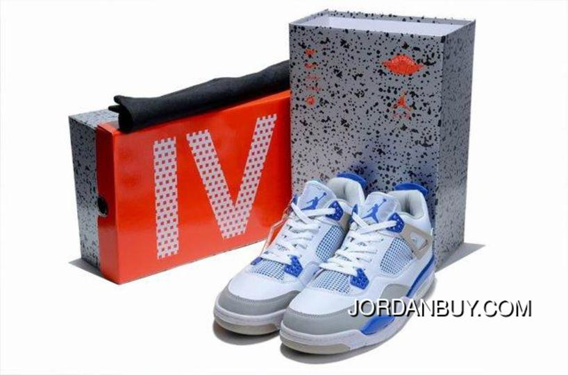 newest b7d97 9610a The 2012 Air Jordan 4 IV Retro Mens Shoes Limited Edition White Grey Blue  In Active