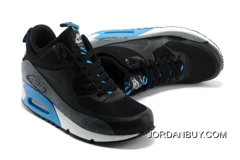 buy popular 2b6f9 8a4ba Special Offer Nike Air Max 90 Mid NO SEW Sneakerboots Ns Womens Shoes Black  Sky Blue
