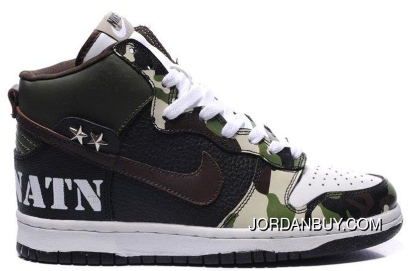 Nike Dunk SB 2012 New High Cut Mens Shoes Camouflage Pattern Dark Olive Green Black Saddle