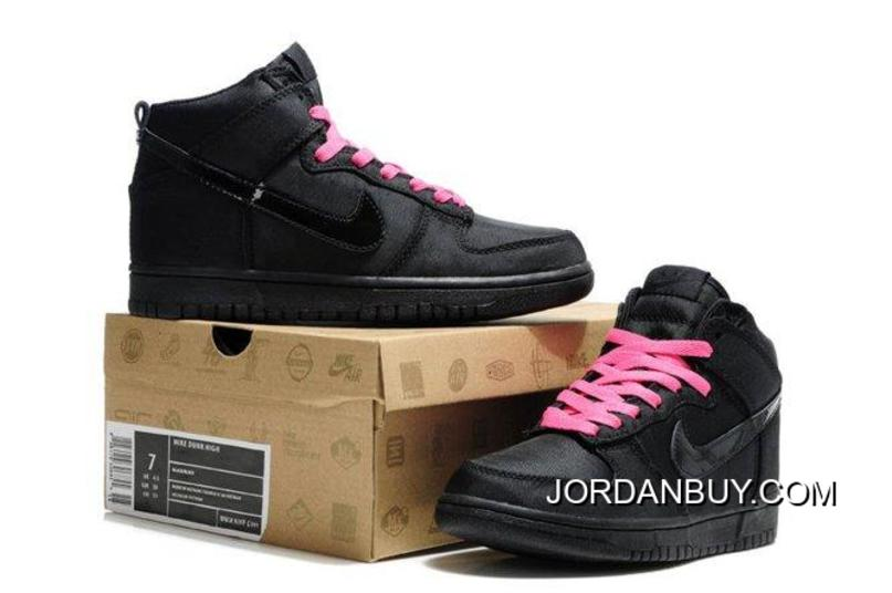 Authentic Nike Dunk SB 2012 High Cut Womens Shoes Black Hot Pink Sneaker