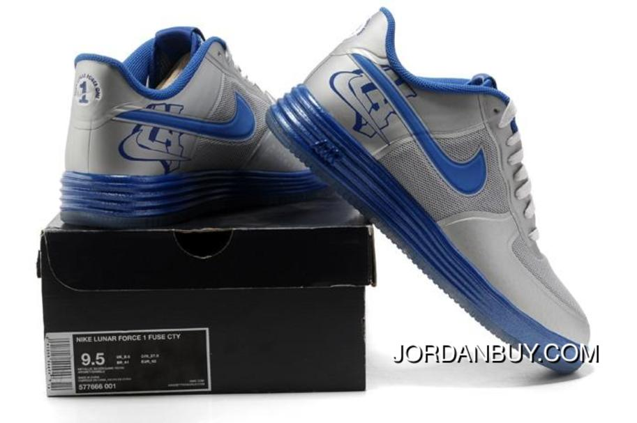 2014 NIKE LUNAR FORCE 1 FUSE CTY Silver Blue Cheap Sale Online